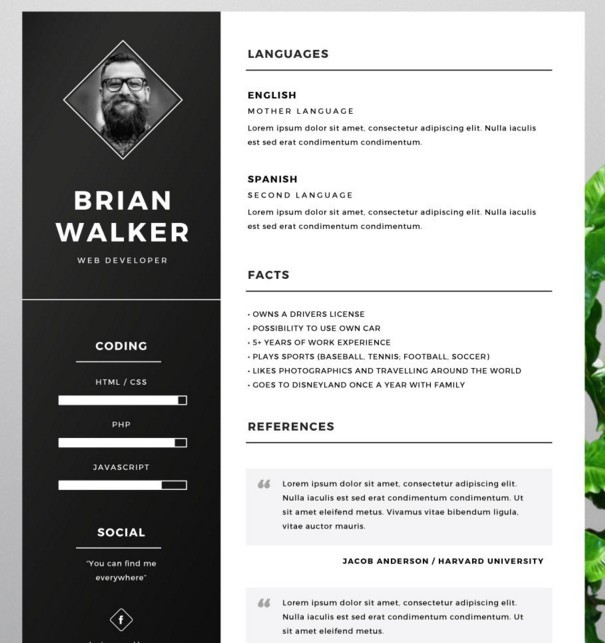 Plantilla de currículum gratuito para Word, Photoshop e Illustrator