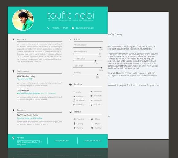 Plantilla CV de currículum gratuito para diseñadores gráficos