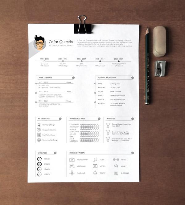 Plantilla de currículum profesional gratuito (CV) para diseñadores gráficos