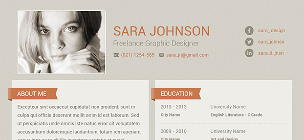 Diseño de currículum creativo PSD gratuito