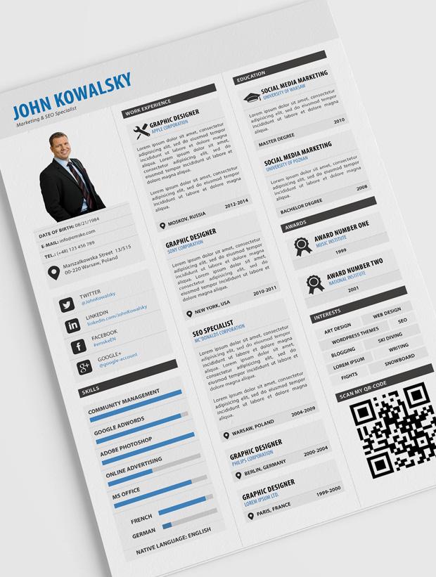 Plantilla de currículum profesional (PSD, PDF)