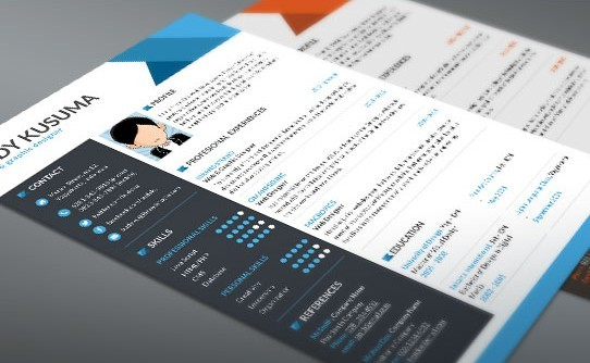 Flashador de plantilla de currículum libre - 3 colores (PSD)