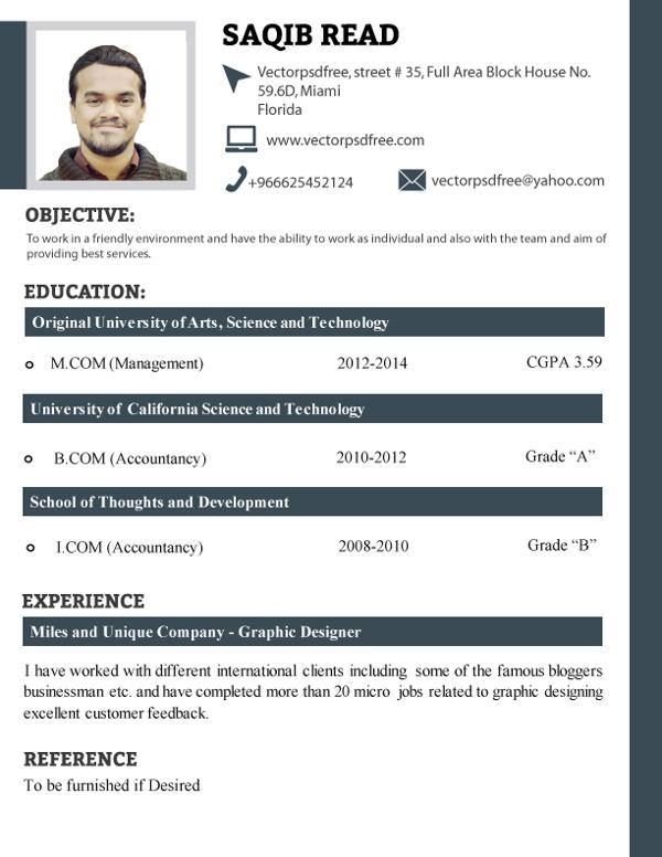 Plantilla profesional de CV de estudiantes frescos