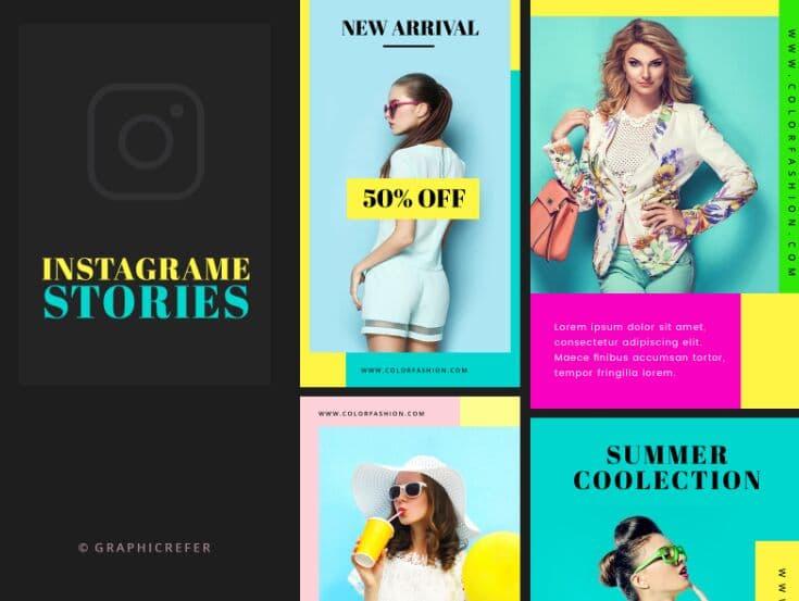 Descarga gratuita Coloridas historias de Instagram Plantilla PSD
