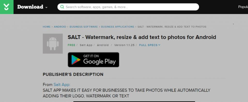 Salt: aplicación de marca de agua