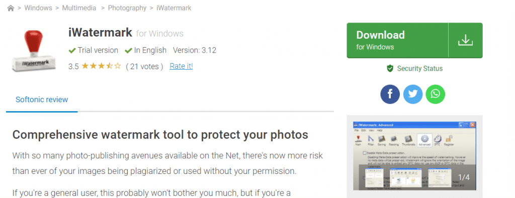 iWatermark: aplicación de marca de agua