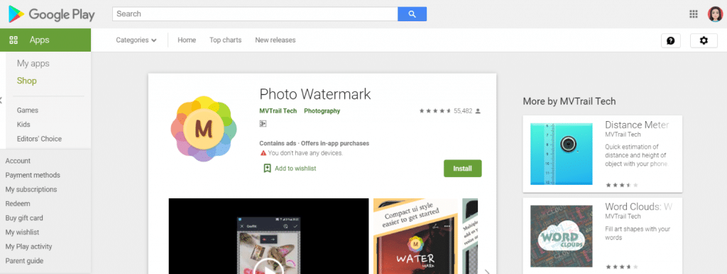 Photo Watermark: aplicación de marca de agua