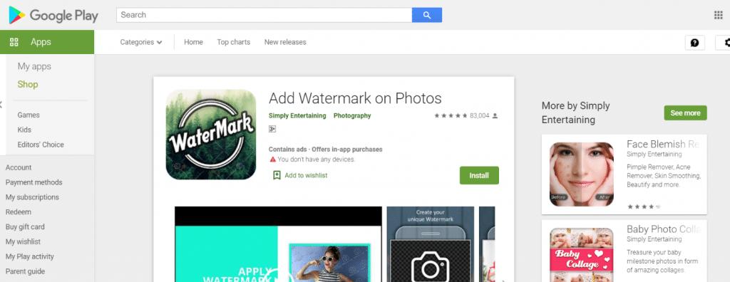 Agregar marca de agua en fotos: aplicación de marca de agua