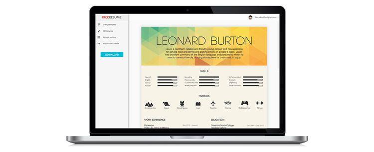Kickresume creativo resumen diseño de aplicación web