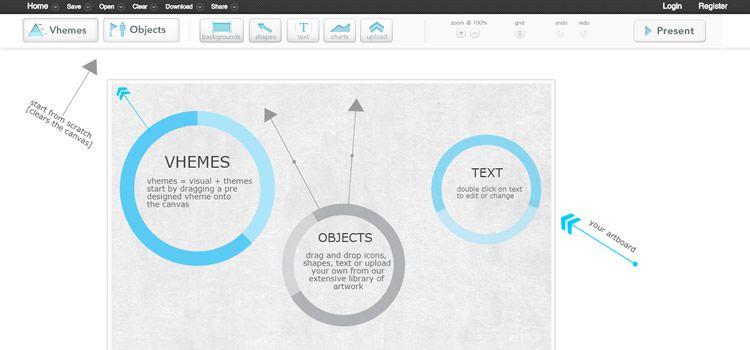 Diseño creativo de la aplicación web de currículum Easel.ly