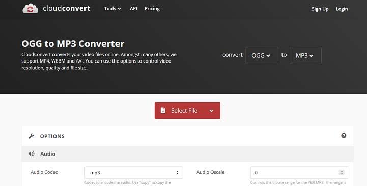 Sitio web de CloudConvert