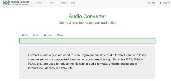 Sitio web de FreeFileConvert