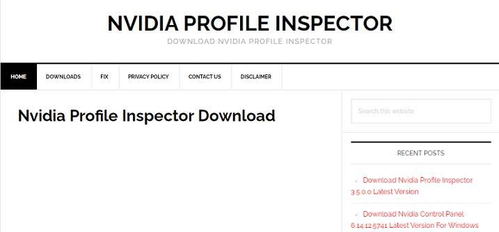 Software NVIDIA Profile Inspector