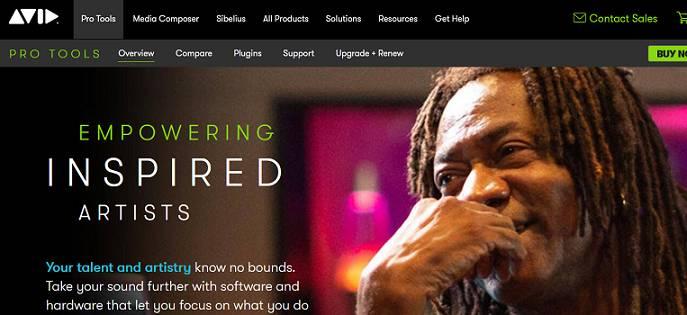 Avid Pro Tools sitio web