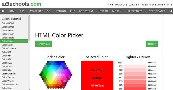 Sitio web de W3Schools HTML Color Picker