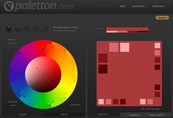 Sitio web de Paletton