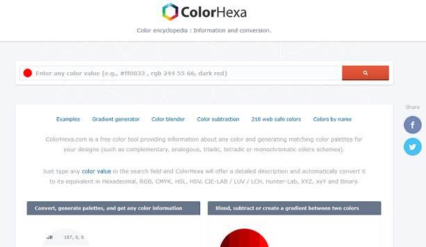 Sitio web de ColorHexa