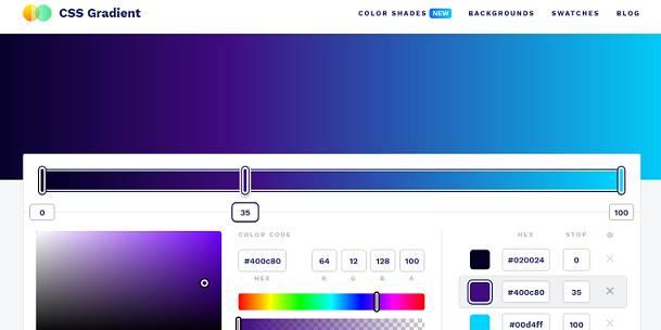 Sitio web de CSS Gradient