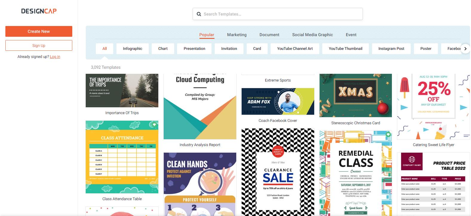DesignCap - mejores programas de diseño gráfico gratis