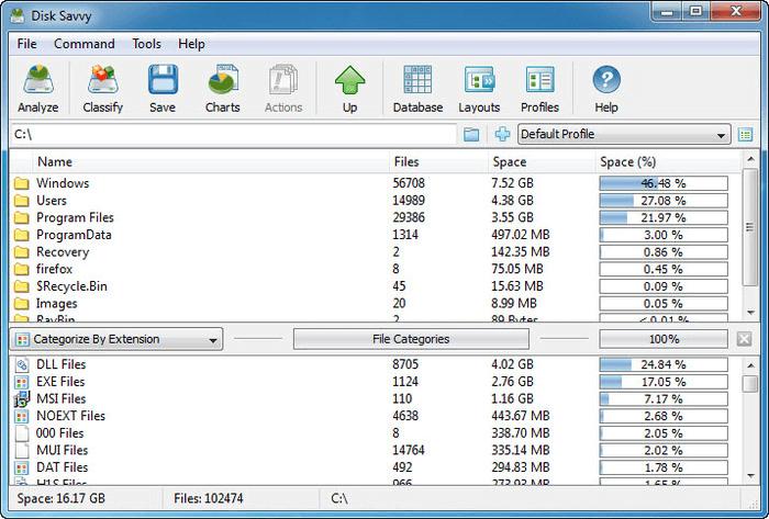 DiskSavvy: el mejor analizador de espacio en disco