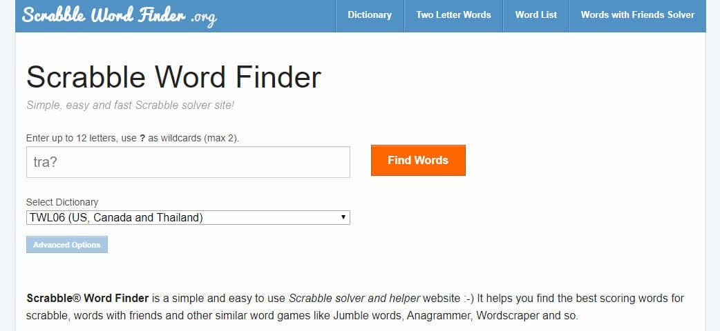 Buscador de palabras de Scrabble