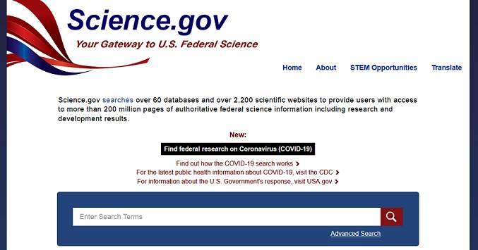 Sitio web Science.gov