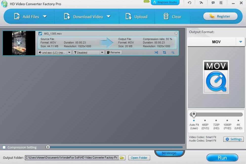 La interfaz del mejor convertidor de vídeo de WonderFox para Windows.