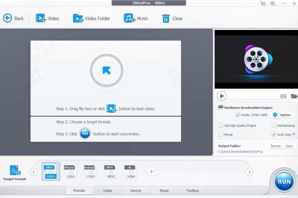 VideoProc mejores convertidores de vídeo para Windows.