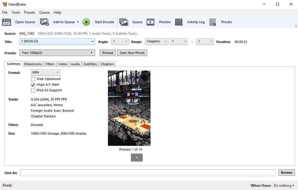 La interfaz del mejor convertidor de vídeo de HandBrake para Windows.