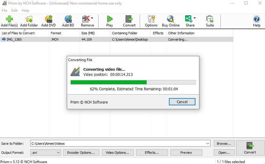 La interfaz del mejor convertidor de vídeo de Prism para Windows.