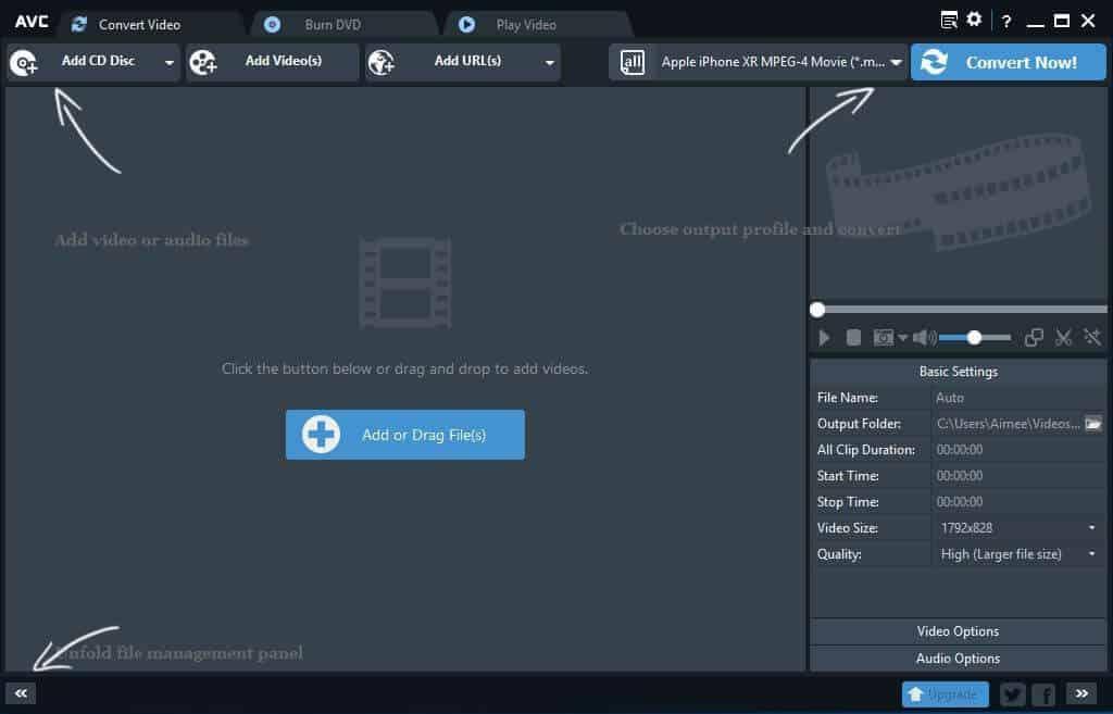 La interfaz del mejor convertidor de vídeo AVC para Windows.