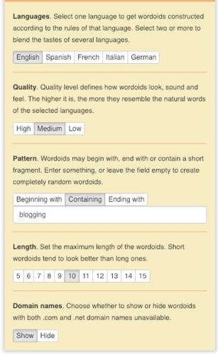 Generador de nombres de dominio para blogs de Wordoid