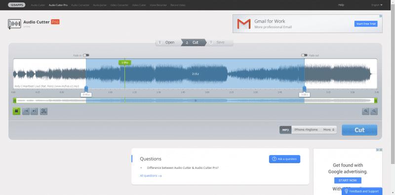 Audio Cutter Pro es un sencillo editor de audio en línea y cortador de mp3
