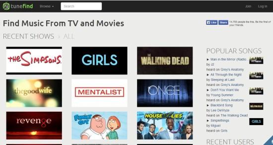 Tunefind.com musica de series de television