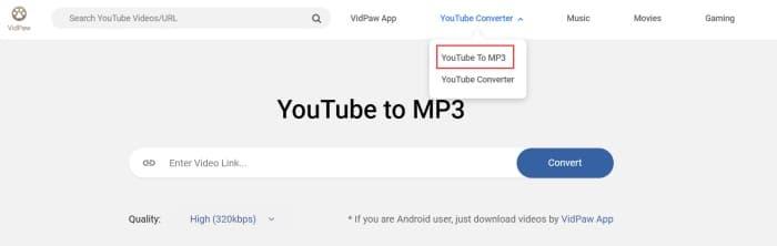 Convertidor VidPaw de YouTube a MP3