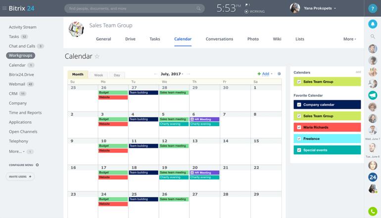 aplicación de calendario bitrix24