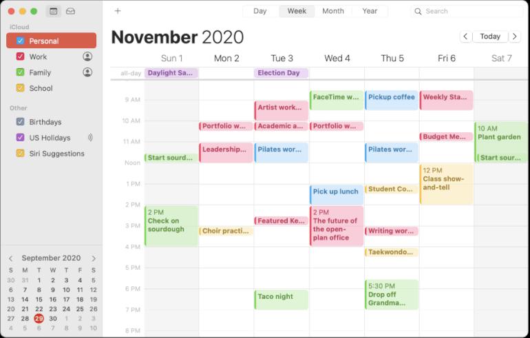 Software de calendario de calendario de Apple