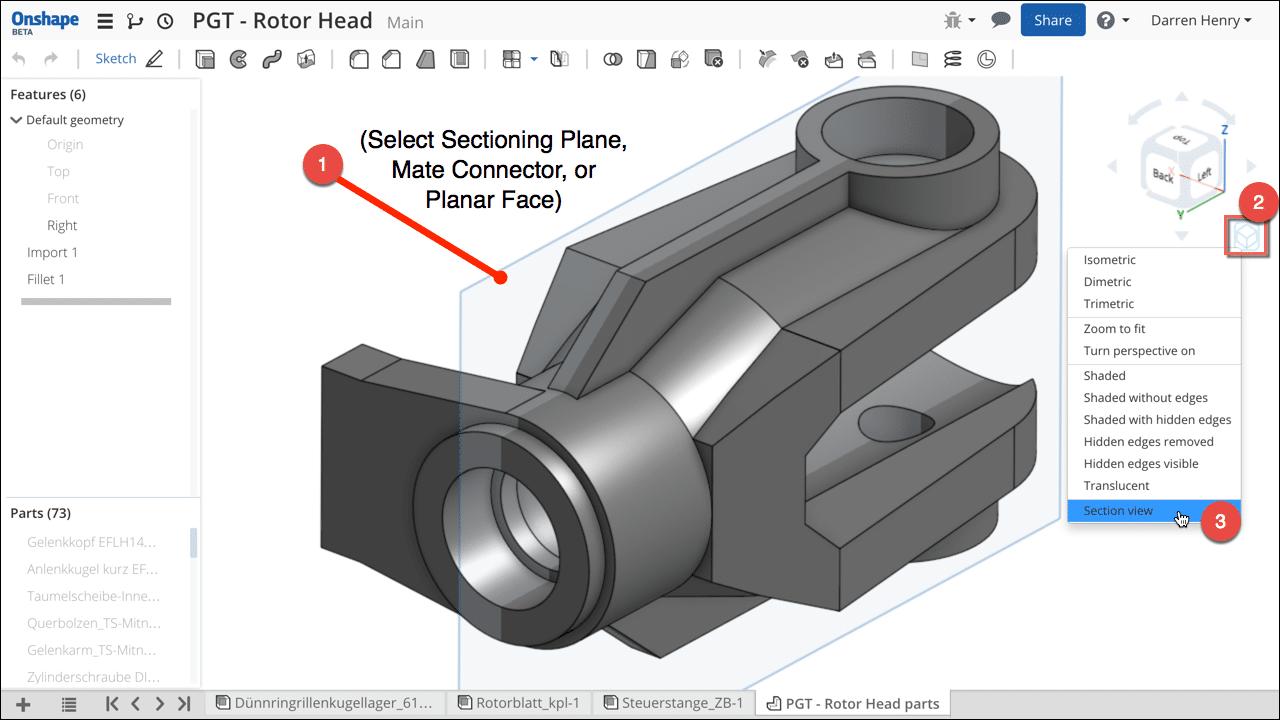Vista de sección 3D en Onshape