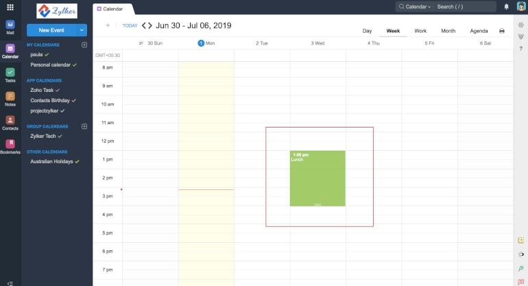 Software de calendario Zoho