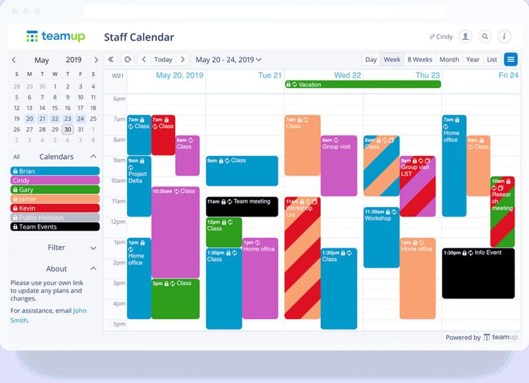 aplicación de calendario de teamup