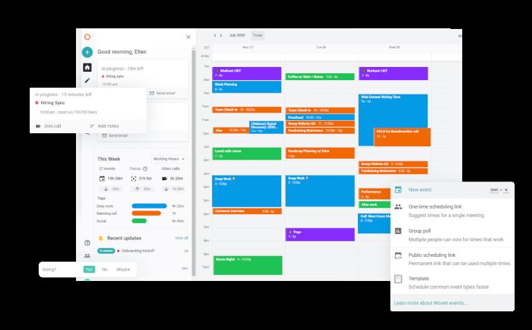 Software de calendario tejido