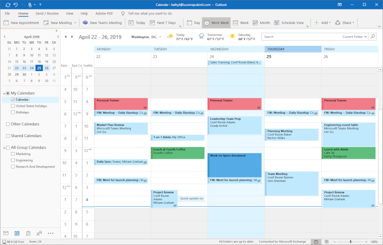 Software de calendario de Outlook