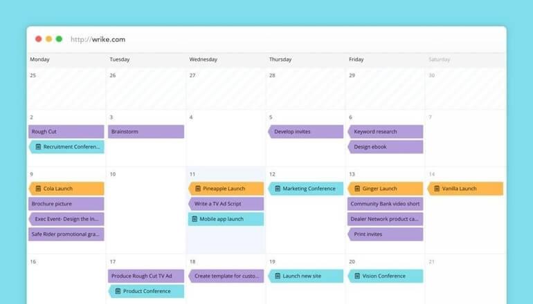 aplicación de calendario de wrike