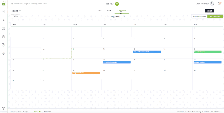 Software de calendario nTask