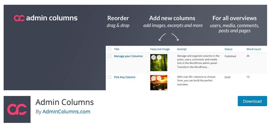 Complemento Admin Columns del directorio oficial de WordPress