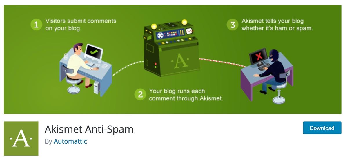 Complemento de Akismet para descargar en el repositorio oficial de WordPress