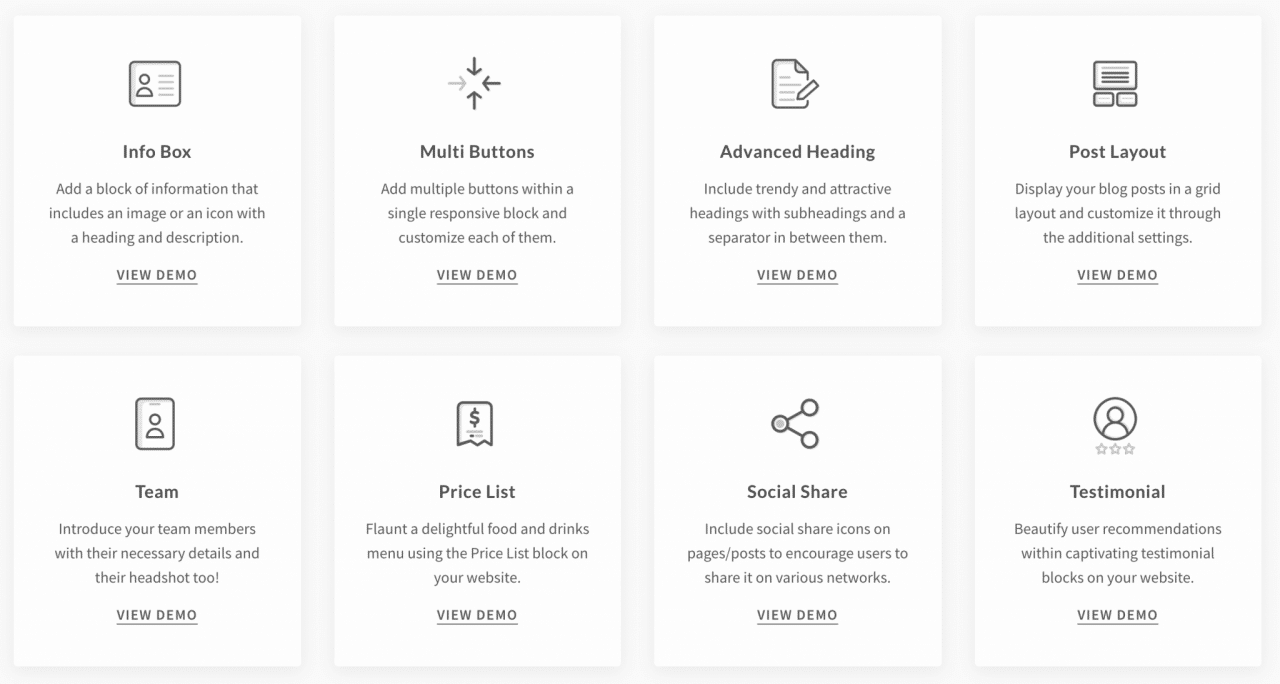 Ejemplos de bloques disponibles en el complemento Ultimate Addons para Gutenberg