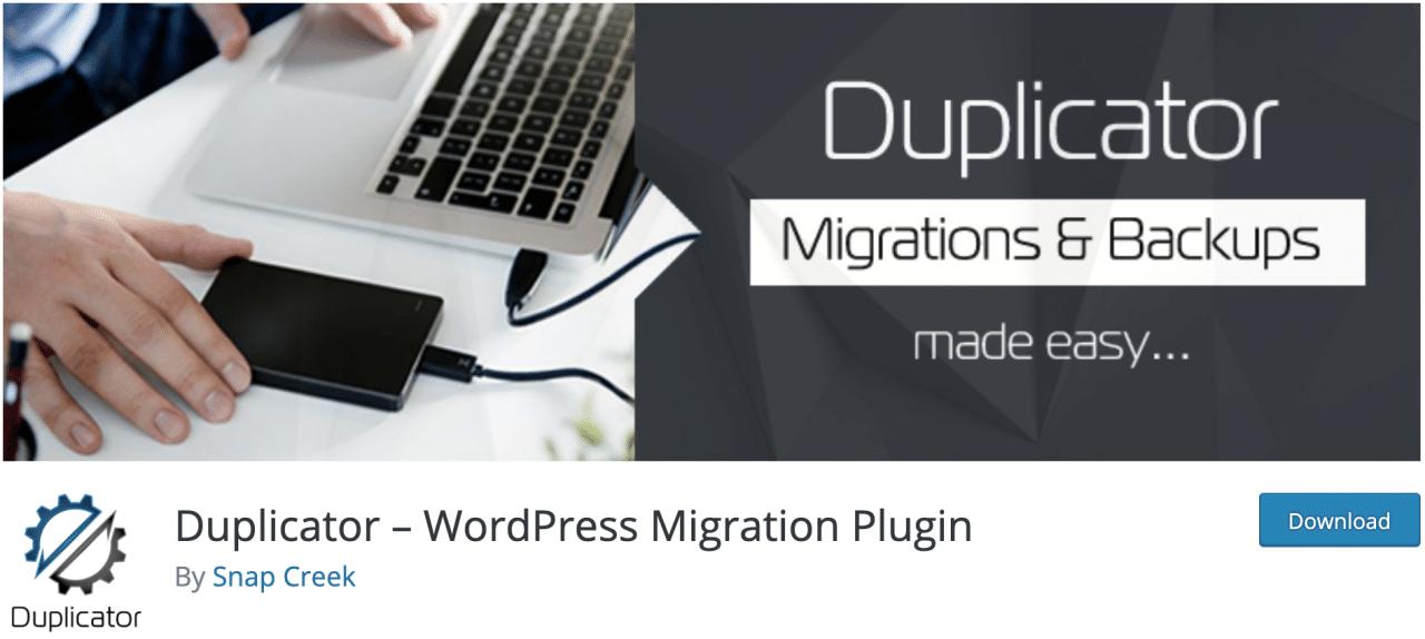 Duplicador, complemento de migración de WordPress en el repositorio oficial