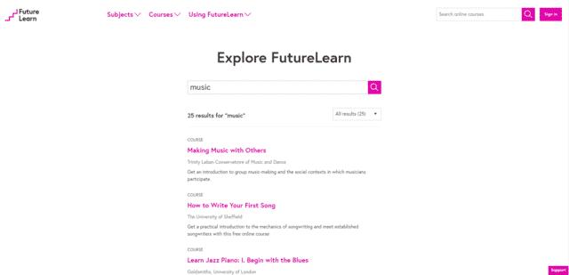FutureLearn Aprenda lecciones de música en línea