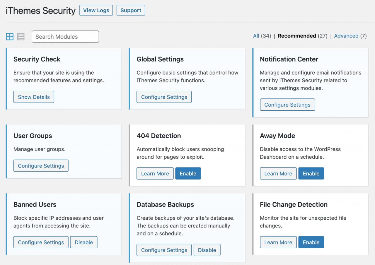 Configuración del complemento de seguridad de iThemes